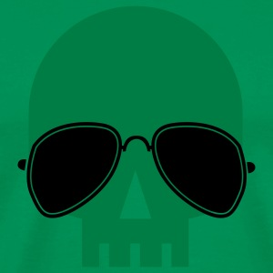 Kelly green skull with aviator glasses ROCK METAL T-Shirts - Men's Premium T-Shirt