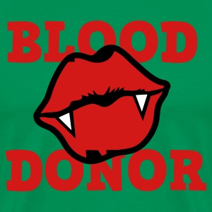 Forest green BLOOD DONOR with funky VAMPIRE lips  in middle T-Shirts - Men's Premium T-Shirt