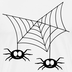 White Spiders in web T-Shirts - Men's Premium T-Shirt