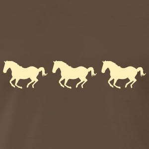 Brown Three Horses Galloping T-Shirts - Men's Premium T-Shirt