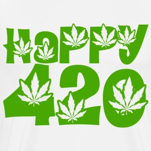 White Happy 420 T-Shirts - Men's Premium T-Shirt