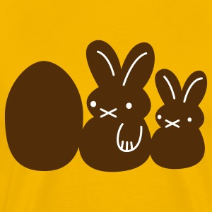 Gold two rabbits and an egg easter T-Shirts - Men's Premium T-Shirt