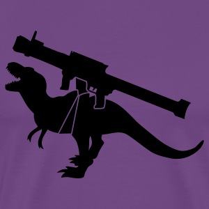 tyrannosaurus dinosaur monster roaring with a rocket launcher weapon T-Shirts - Men's Premium T-Shirt