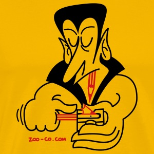 Gold Dracula Sharpening his Teeth T-Shirts - Men's Premium T-Shirt