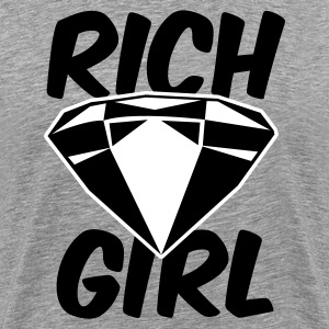 Heather grey rich girl with diamond jewel T-Shirts - Men's Premium T-Shirt