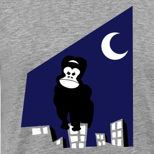 Heather grey king kong wants to go home on a city scape T-Shirts - Men's Premium T-Shirt