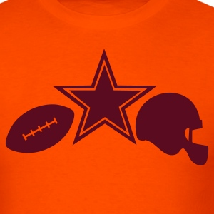 Orange I star LOVE AMERICAN football with ball and HELMET T-Shirts - Men's T-Shirt