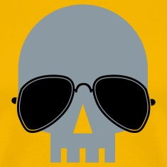 Gold skull with aviator glasses ROCK METAL T-Shirts