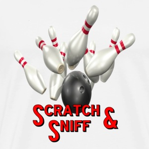 White Bowling Team Scratch & Sniff T-Shirts - Men's Premium T-Shirt