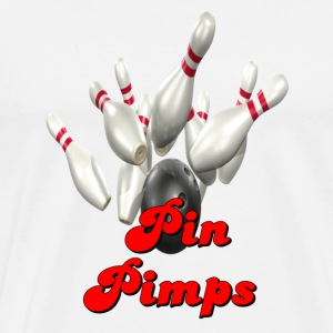 White Bowling Team Pin Pimps T-Shirts - Men's Premium T-Shirt