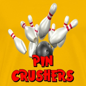 Yellow Bowling Team Pin Crushers T-Shirts - Men's Premium T-Shirt
