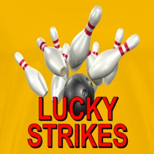 Gold Bowling Team Lucky Strikes T-Shirts - Men's Premium T-Shirt