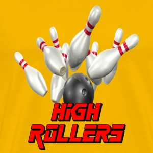Yellow Bowling Team high Rollers T-Shirts - Men's Premium T-Shirt