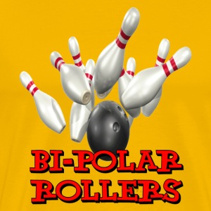 Yellow Bowling Team Bi-Polar Rollers T-Shirts - Men's Premium T-Shirt