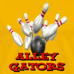 Yellow Bowling Team Alley Gators T-Shirts - Men's Premium T-Shirt