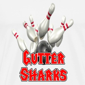 White Bowling Team Gutter Sharks T-Shirts - Men's Premium T-Shirt