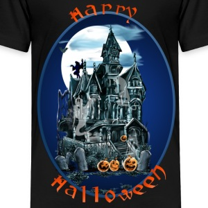 Haunted House Oval Lettered - Toddler Premium T-Shirt