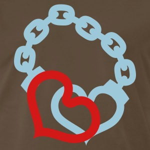 Brown love handcuffs T-Shirts - Men's Premium T-Shirt