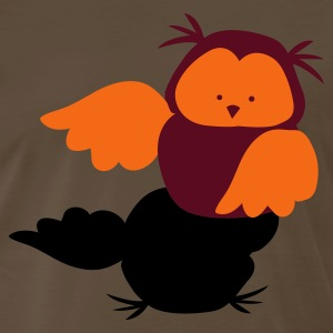 Brown Cute Owl facing left T-Shirts - Men's Premium T-Shirt