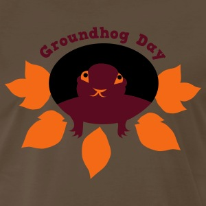 Brown groundhog day with hog in a hole T-Shirts - Men's Premium T-Shirt