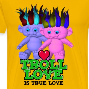 Yellow Troll Love Is True Love T-Shirts - Men's Premium T-Shirt