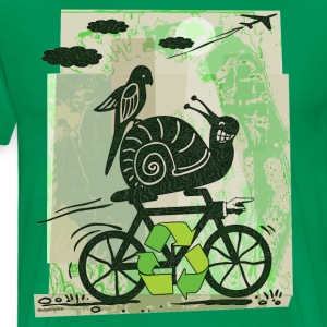 Sage Earth Day Recycling Snail  T-Shirts - Men's Premium T-Shirt