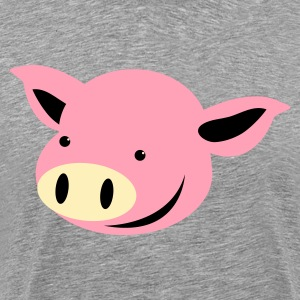 Heather grey pig piggy face with cute grin T-Shirts - Men's Premium T-Shirt