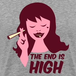 Heather grey the end is high with woman smoking weed T-Shirts - Men's Premium T-Shirt