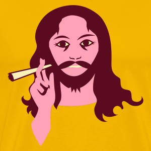 Gold hippy guy with reefer smoke T-Shirts - Men's Premium T-Shirt