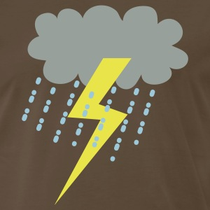 Brown raincloud clouds storm with lightning T-Shirts - Men's Premium T-Shirt