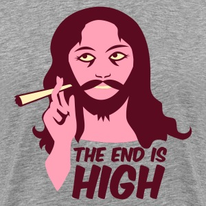 Heather grey the end is high with jesus character T-Shirts - Men's Premium T-Shirt