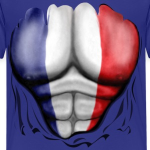 France Flag Ripped Muscles, six pack, chest t-shirt - Kids' Premium T-Shirt