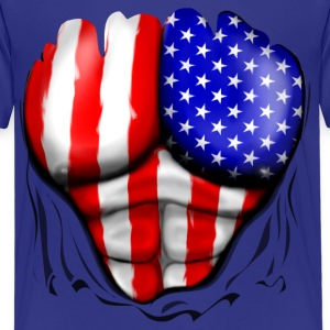 USA Flag Ripped Muscles, six pack, chest t-shirt - Kids' Premium T-Shirt