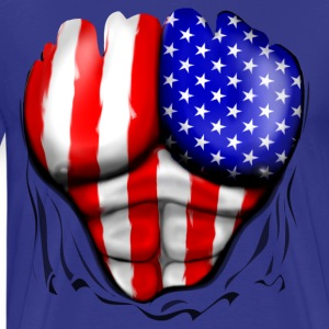USA Flag Ripped Muscles, six pack, chest t-shirt - Men's Premium T-Shirt