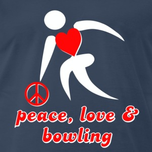 Navy Peace, Love & Bowling T-Shirts - Men's Premium T-Shirt