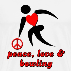 White Peace, Love & Bowling T-Shirts - Men's Premium T-Shirt
