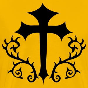 Gold gothic cross with thorns T-Shirts - Men's Premium T-Shirt
