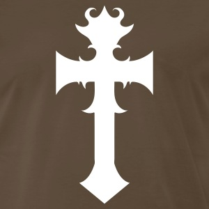 Brown funky cool gothic cross curls T-Shirts - Men's Premium T-Shirt