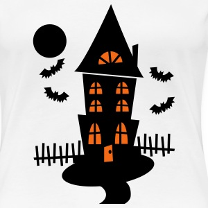 White Halloween Haunted House With Bats And Moon--VECTOR Plus Size - Women's Premium T-Shirt
