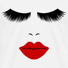 White Fashion Face Silhouette, Red Lips, Lashes--DIGITAL DIRECT ONLY! T-Shirts