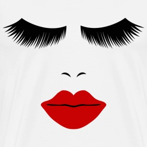 White Fashion Face Silhouette, Red Lips, Lashes--DIGITAL DIRECT ONLY! T-Shirts - Men's Premium T-Shirt