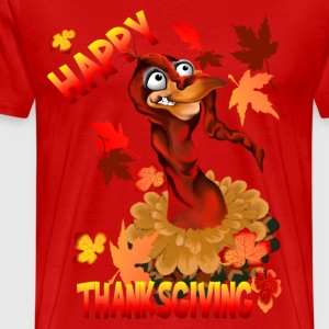 Thanksgiving Turkey and Autumn Leaves - Men's Premium T-Shirt