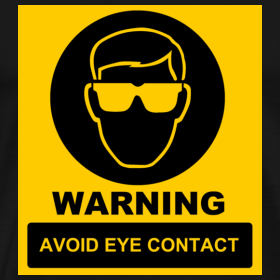 Avoid eye contact | Logo t shirt, parody
