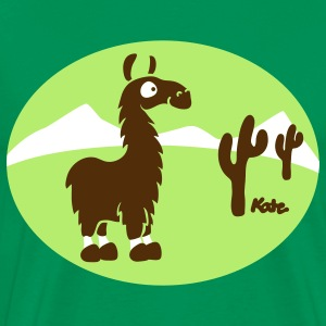 Kelly green Lama Scenery Atacama T-Shirts - Men's Premium T-Shirt
