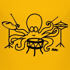 Yellow  Octopus drummer Kids' Shirts