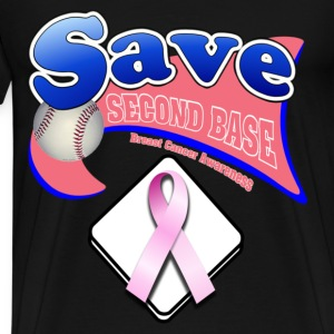 Black Save Second Base Plate Pink Ribbon T-Shirts - Men's Premium T-Shirt