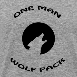 Heather grey one man wolf pack T-Shirts - Men's Premium T-Shirt