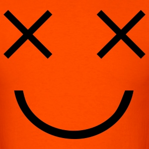 Orange  FUNNY FACE two crosses dead cartoon eyes with smile T-Shirts - Men's T-Shirt