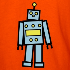 Orange Robot in Blue  By VOM Design - virtualONmars T-Shirts
