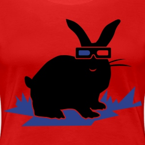 Red 3D BUNNY RABBIT Plus Size - Women's Premium T-Shirt